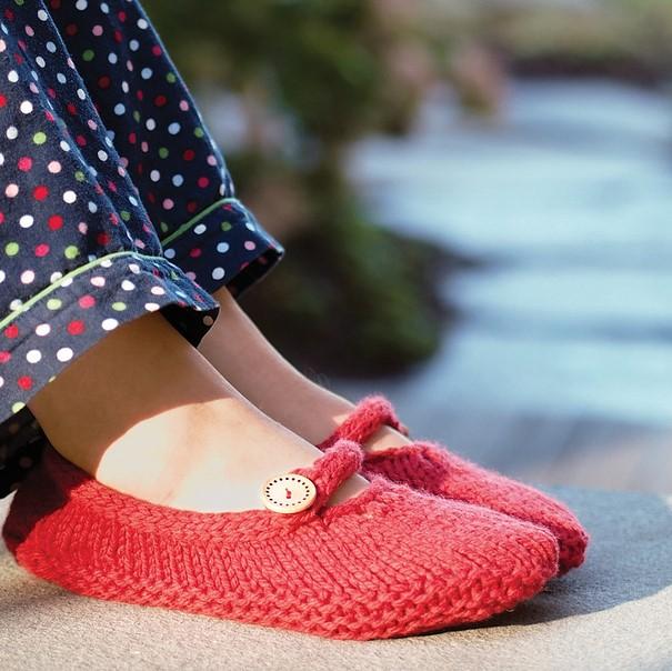 chaussons au tricot femme